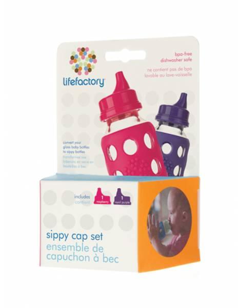 Bilde av Lifefactory Sippy Cap Rasberry & Royal Purple 2 stk